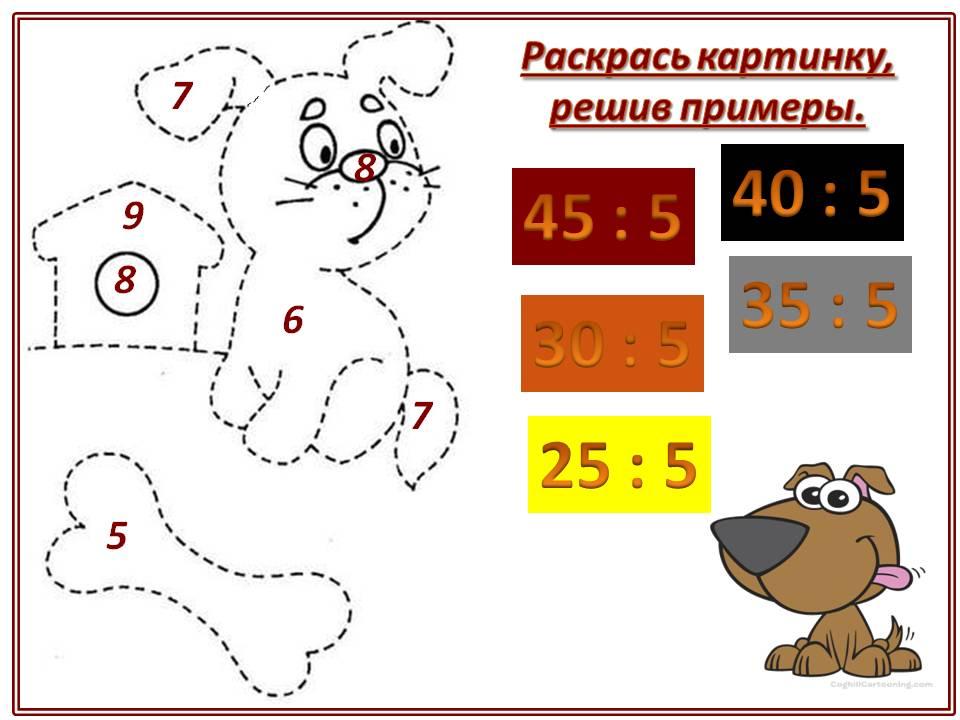 Рекомендуется работа с карточкой для повторения таблицы умножения и деления числа 5.
