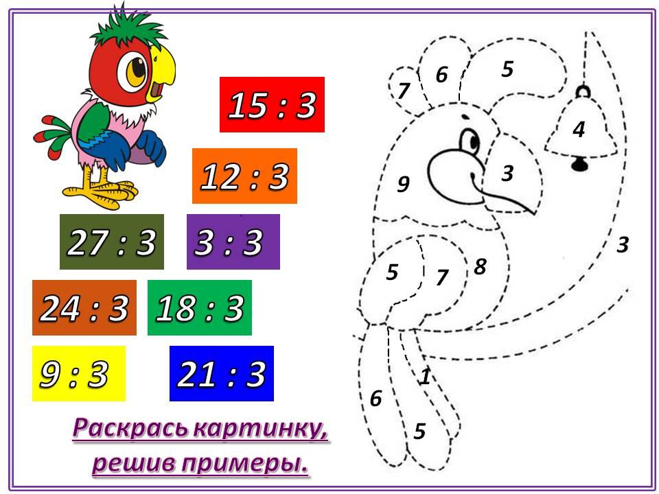 В карточке примеры на деление на число 3.